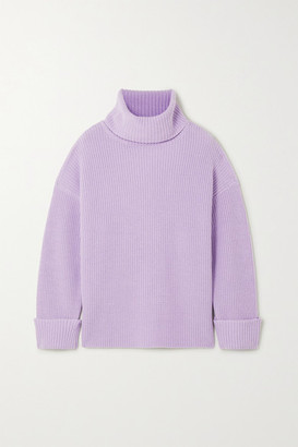 Alice + Olivia Mel Open-back Ribbed Wool-blend Turtleneck Sweater - Purple