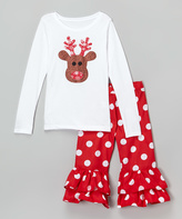 Beary Basics White Reindeer Tee & Red Ruffle Pants - Infant Toddler & Girls