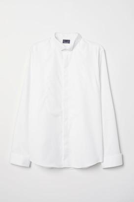 H&M Slim Fit Tuxedo Shirt - White