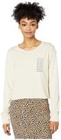 RVCA Text Long Sleeve Boyfriend T-Shirt (Oatmeal) Women's Clothing