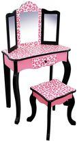Teamson Kids Fashion Prints Black Leopard Vanity Table & Stool Set
