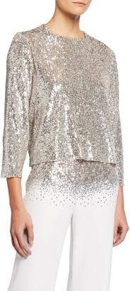 Sachin + Babi Blair Sequin Jewel-Neck 3/4-Sleeve Layered Top