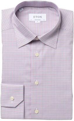 Eton Grid Twill Contemporary Fit Dress Shirt