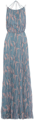Valentino Open-back Pleated Printed Silk-chifffon Maxi Dress
