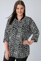 Yours Clothing Black & White Mono Print Zip Through Shacket