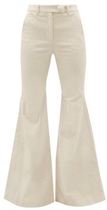 Sara Battaglia Cotton-blend Jumbo Corduroy Flared Trousers - Cream
