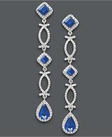 Effy Sapphire (2-5/8 ct. t.w.) and Diamond (3/4 ct. t.w.) Geometric Drop Earrings in 14k White Gold