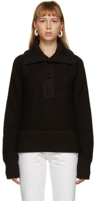 Bottega Veneta Brown Rib Button-Up Sweater