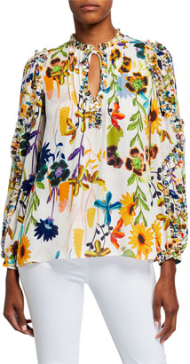 Kobi Halperin Merlyn Floral Tie-Neck Keyhole Blouse