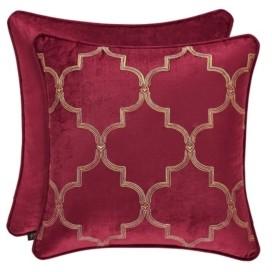 """J Queen New York J Queen Maribella Crimson 18"""" Embellished Square Bedding"""