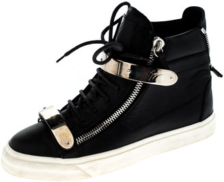 Giuseppe Zanotti Black Leather Double Chain High Top Sneakers Size 38