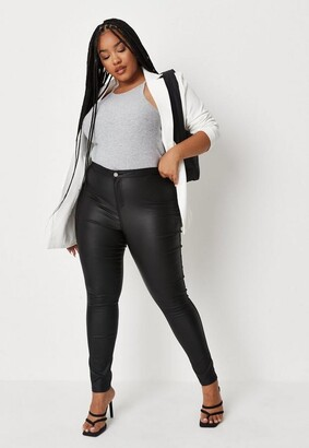 Missguided Plus Size Black Coated Skinny Jeans