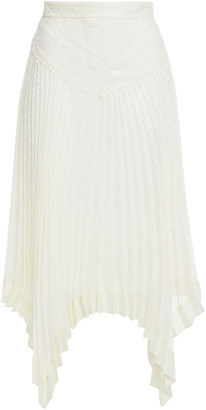Zimmermann Espionage Asymmetric Lace-paneled Pleated Swiss-dot Chiffon Skirt