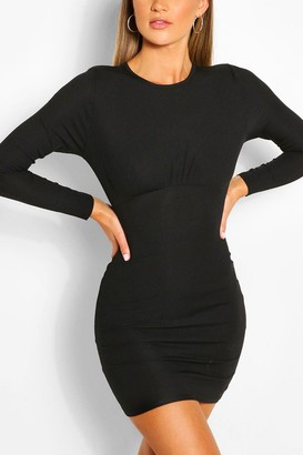 boohoo Rouched Bust Long Sleeve Mini Dress
