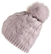 Black Blush Thick Cable Cashmere Fur Pom Pom Beanie
