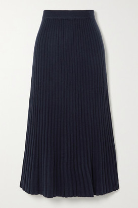 Arch4 Ribbed Cashmere Midi Skirt - Navy