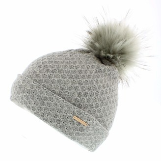 Alice Hannah Eden Wool Blend Knitted Bobble Hat with Faux Fur Pom (Grey)