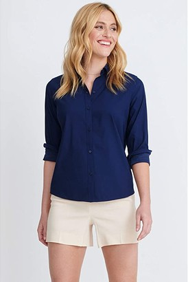 Isabella Collection UNTUCKit Stretch Cotton Button-Up Blouse (Navy) Women's Clothing
