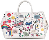 Anya Hindmarch sticker tote bag - women - Bos Taurus - One Size