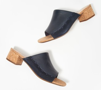 Clarks Collection Leather Heeled Slide Sandals - Elisa Abby