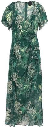 Anna Sui Wrap-effect Metallic Fil Coupe Silk-blend Midi Dress
