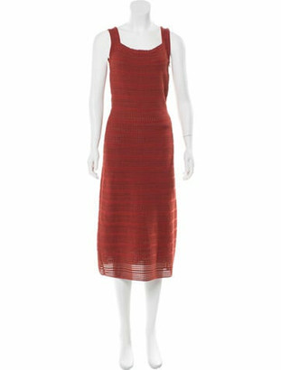 Alaia Sleeveless A-Line Midi Dress Terracotta