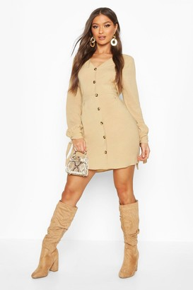 boohoo Button Front Fit & Flare Mini Dress