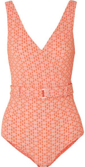 Lisa Marie Fernandez Yasmin Wrap-effect Seersucker Swimsuit - Orange