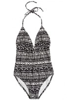 CALYPSO PRIVATE LABEL Makwa Block Print Asta Keyhole One Piece