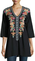 Johnny Was Heidi Embroidered V-Neck Tunic, Black