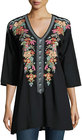 johnny was heidi embroidered vneck tunic black