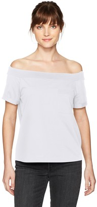 GUESS Women's Off Shoulder Acme Pocket T-Shirt