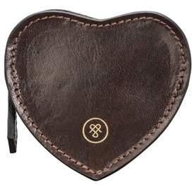 Maxwell Scott Bags Maxwell Scott Real Italian Leather Heart Coin Purse - Mirabella Brown