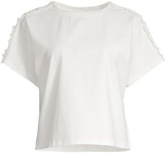 Milly Jessica Ruffle-Trim Short-Sleeve T-Shirt