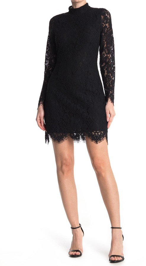 Ganni Mock Neck Lace Dress