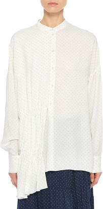 Tibi Pindot Draped Button-Front Tunic