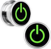 Body Candy Stainless Steel Green Power Button Screw Fit Plug Pair 1/2""