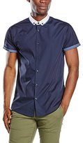 New Look Men's Hopsack Double Collar Slim Fit Short Sleeve Formal Shirt