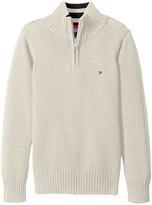 Tommy Hilfiger Edward 1/2 Zip with Rib Stitch Sweater (Big Kids)
