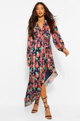 boohoo Tall Woven Floral Ruffle High Leg Maxi Dress