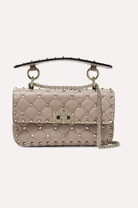 Valentino Garavani The Rockstud Spike Small Quilted Leather Shoulder Bag - Blush