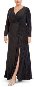 R & M Richards Plus Size Metallic Surplice Gown