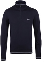 Boss Hamlett Navy Marl Slim Fit Crew Neck Sweater