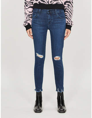 J Brand 835 ripped cropped skinny mid-rise jeans