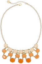 Liz Claiborne Peach Stone Gold-Tone Bib Necklace