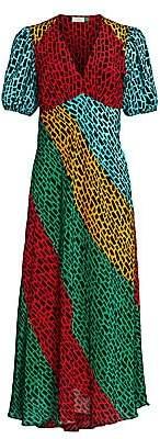 Rixo Women's Amber Giraffe Stripe Midi Dress