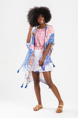 francesca's Annely Scarf Print Tassel Kimono - Blue