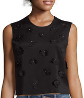 BELLE + SKY Sleeveless Scuba Floral Embellished Top