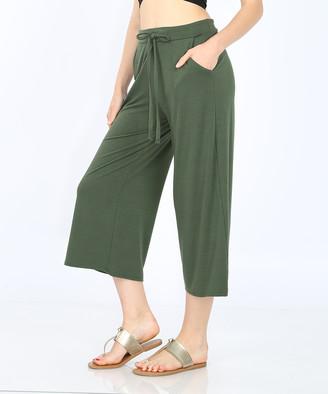 Zenana Women's Capris ARMYGREEN_IPB - Army Green Tie-Waist Gaucho Pants - Women & Plus