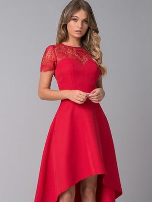 Chi Chi London Oti Lace Back High Low Midi Dress - Red